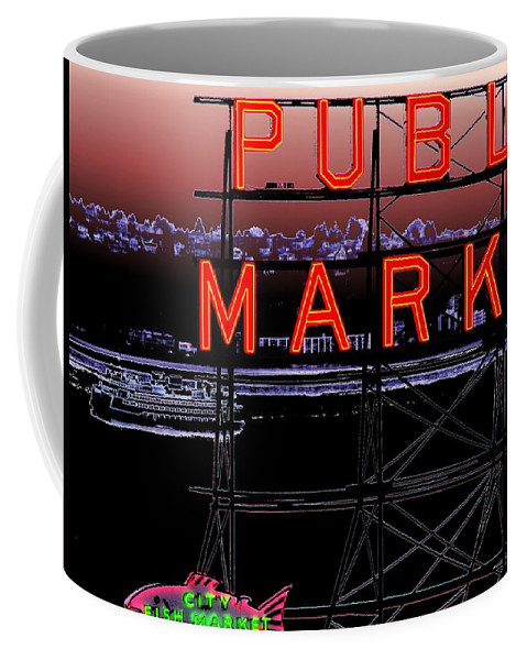Seattle Coffee Mug featuring the digital art Market Ferry 2 by Tim Allen