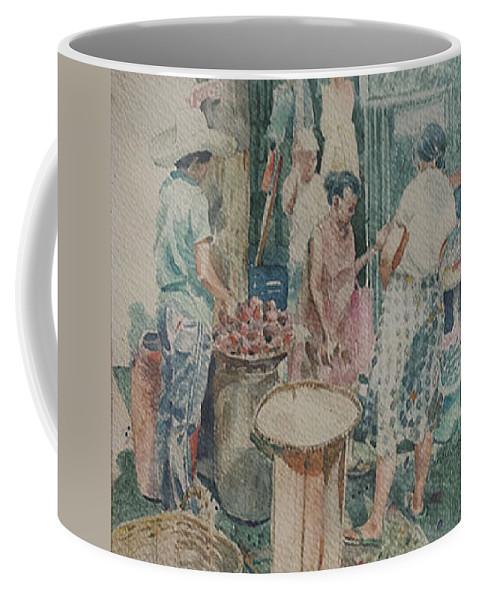 Market Coffee Mug featuring the painting Market Scene by Edwin Villavera