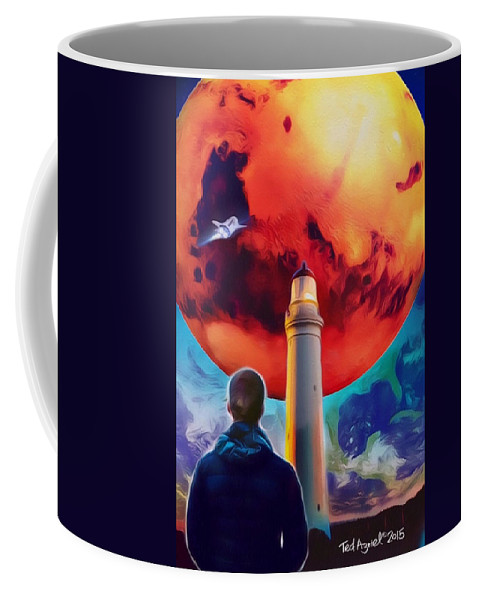 Painting Coffee Mug featuring the painting Mars Dreamer by Ted Azriel