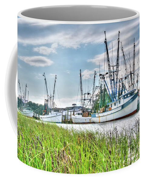Marsh Coffee Mug featuring the photograph Marsh View Shrimp Boats by Scott Hansen