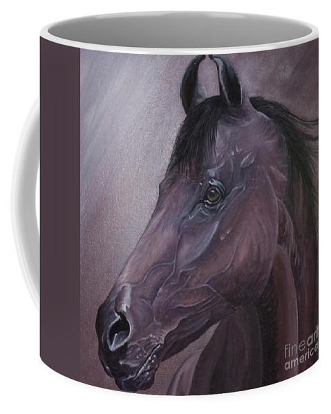 Horse Marwari Equine Purple Coffee Mug featuring the painting Marwari Purple by Pauline Sharp