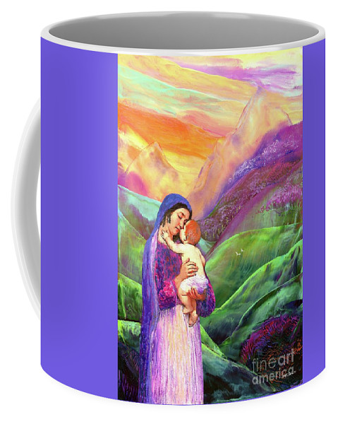 Spiritual Coffee Mug featuring the painting Mary and Baby Jesus Gift of Love by Jane Small