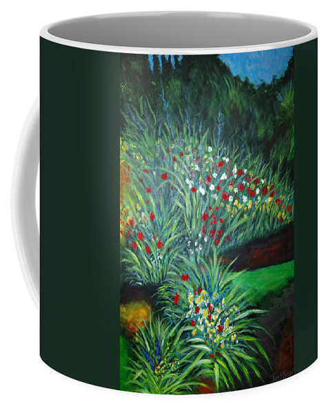 Landscape Coffee Mug featuring the painting Maryann's Garden 3 by Nancy Mueller