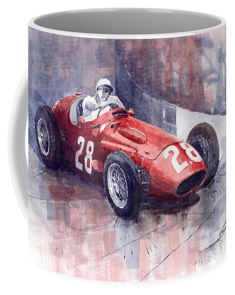 Watercolour Coffee Mug featuring the painting Maserati 250 F Gp Monaco 1956 Stirling Moss by Yuriy Shevchuk