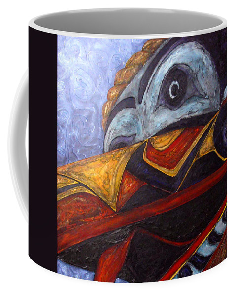 Raven Coffee Mug featuring the painting Mask Of The Raven by Elaine Booth-Kallweit