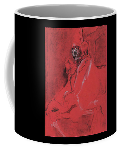 Portrait Of Masked Man Coffee Mug featuring the drawing Masked Man by Lynne Guess