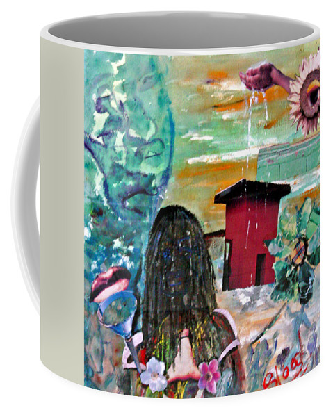 Water Coffee Mug featuring the painting Masks Of Life by Peggy Blood