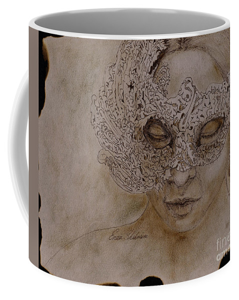 Mask Coffee Mug featuring the drawing Masquerade by Portraits By NC