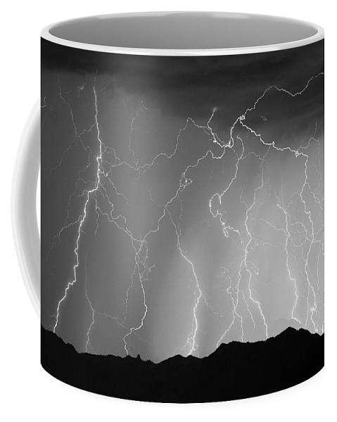 Lightning Coffee Mug featuring the photograph Massive Monsoon Lightning Storm Bw by James BO Insogna