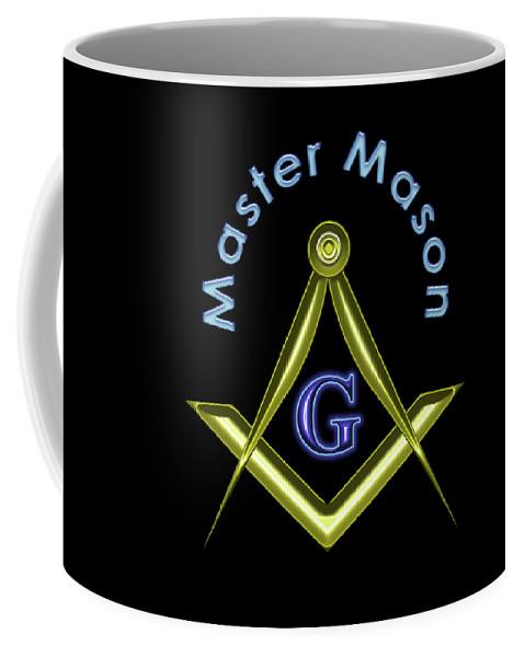 Master Coffee Mug featuring the digital art Master Mason In Black by Reynaldo Williams