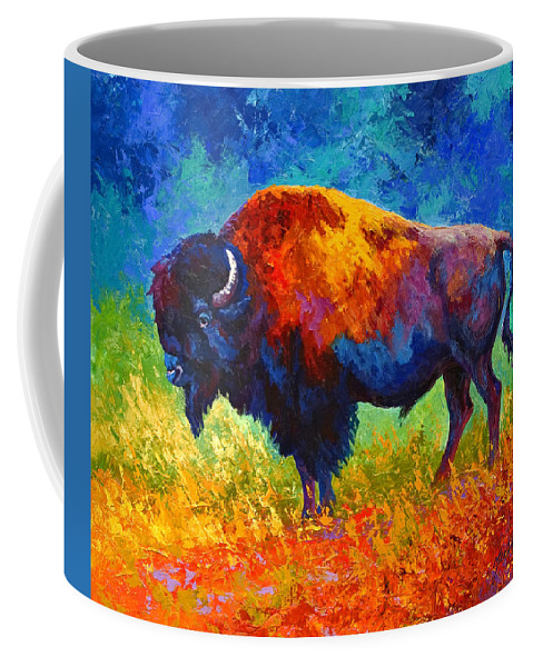 Wildlife Coffee Mug featuring the painting Master Of His Herd by Marion Rose