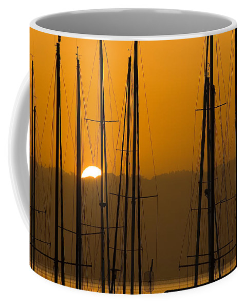 Masts Coffee Mug featuring the photograph Masts At Dawn by Mick Burkey