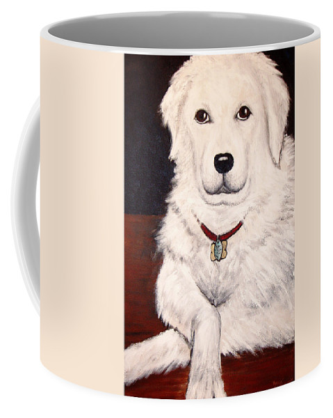 Dog Coffee Mug featuring the painting Matisse- Portrait Of A Hungarian Kuvasz by Nancy Mueller