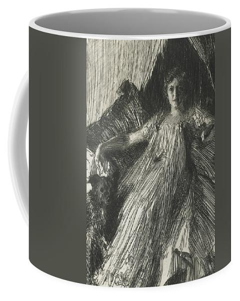 Maud Cassel Coffee Mug featuring the drawing Maud Cassel by Anders Leonard Zorn
