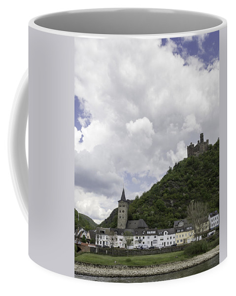 Maus Castle Coffee Mug featuring the photograph Maus Castle And The Village Of Wellmich by Teresa Mucha