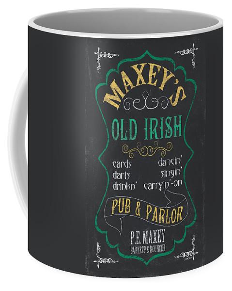 Beer Coffee Mug featuring the mixed media Maxey's Old Irish Pub by Debbie DeWitt