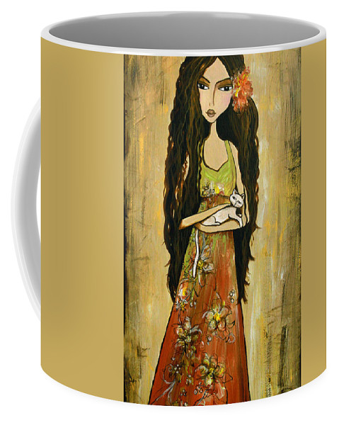 Spanish Coffee Mug featuring the painting Maya And The Cat by Debbie Horton