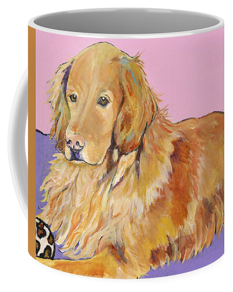 Golden Retriever Coffee Mug featuring the painting Maya by Pat Saunders-White