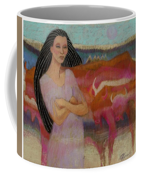 Mayan Woman Tends Cattle In Village Of Tulum Central America Colorful Steer Pastel Painting On Sandpaper Fantasy Coffee Mug featuring the pastel Mayan Tending Her Cattle In Tulum by Pamela Mccabe