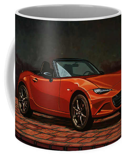 Mazda Mx-5 Miata Coffee Mug featuring the painting Mazda Mx-5 Miata 2015 Painting by Paul Meijering