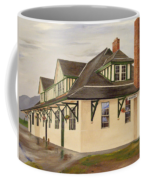 Train Station Coffee Mug featuring the painting Mcbride Station by Glen Frear