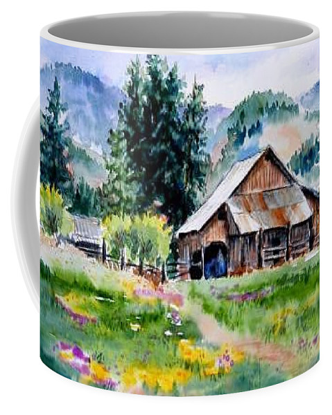 Barn Coffee Mug featuring the painting Mcghee Farm by Lynee Sapere