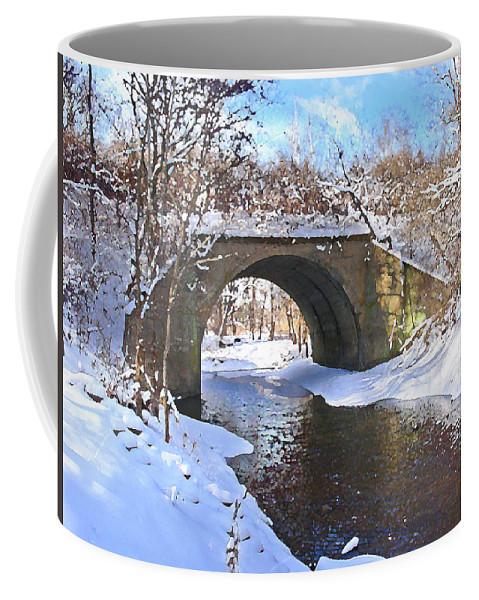 Landscape Coffee Mug featuring the digital art Mcgowan Bridge by Steve Karol