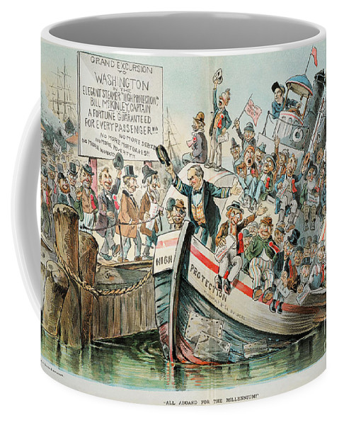 1896 Coffee Mug featuring the photograph Mckinley Cartoon, 1896 by Granger