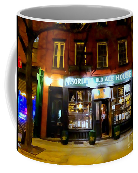 Digital Art Coffee Mug featuring the photograph Mcsorleys At Night by Ed Weidman