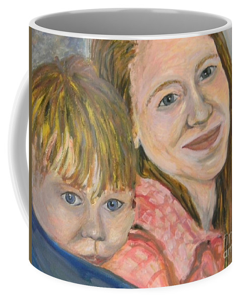 Mama Coffee Mug featuring the painting Me And My Boy Detail by Emily Michaud