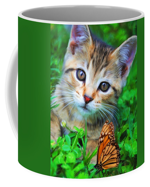 Kitten Coffee Mug featuring the painting Me And My Monarch by Jai Johnson