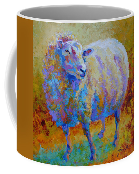 Llama Coffee Mug featuring the painting Me Me Me by Marion Rose