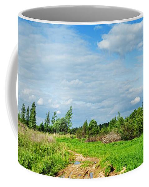 Sun Coffee Mug featuring the photograph Meadow Road by Vadzim Kandratsenkau