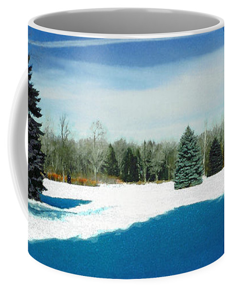 Landscape Coffee Mug featuring the photograph Meadow Snow by Steve Karol