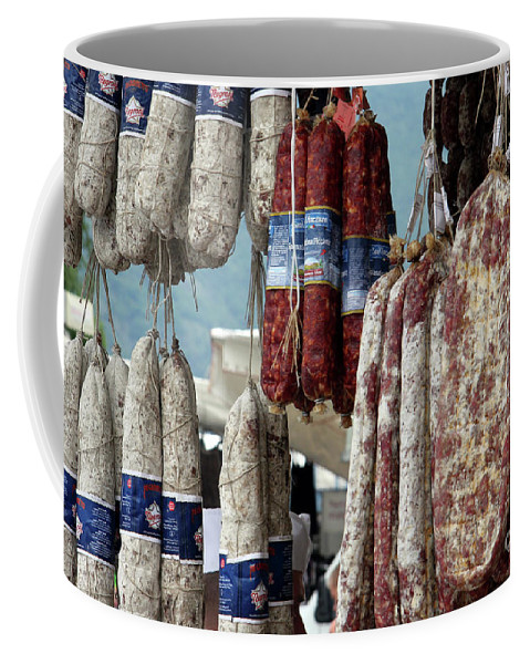 Italy Coffee Mug featuring the photograph Meats And Sausages by Amos Dor