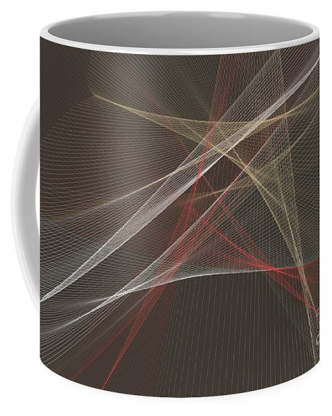 Abstract Coffee Mug featuring the digital art Mechanic Computer Graphic Line Pattern by Frank Ramspott