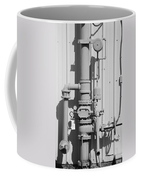 Black And White Coffee Mug featuring the photograph Mechanical Doo Dad by Rob Hans