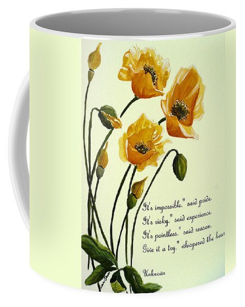 Yellow Meconopsis Coffee Mug featuring the painting Meconopsis Poem by Karin Dawn Kelshall- Best
