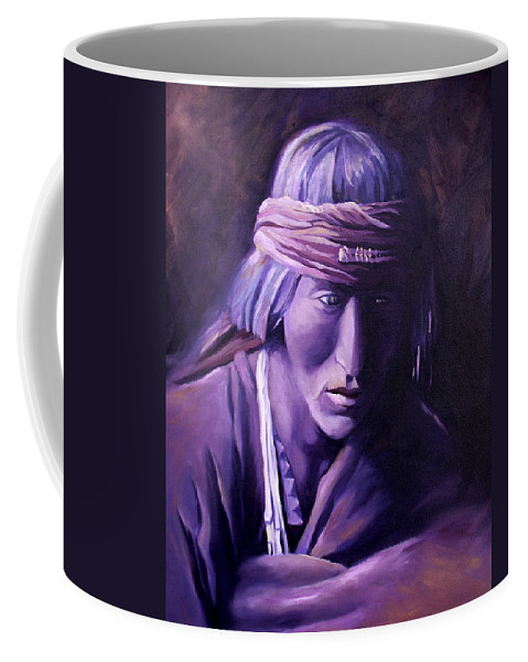 Native American Coffee Mug featuring the painting Medicine Man by Nancy Griswold