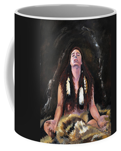 Southwest Art Coffee Mug featuring the painting Medicine Woman by J W Baker