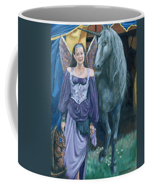 Fairy Faerie Unicorn Dragon Renaissance Festival Coffee Mug featuring the painting Medieval Fantasy by Bryan Bustard
