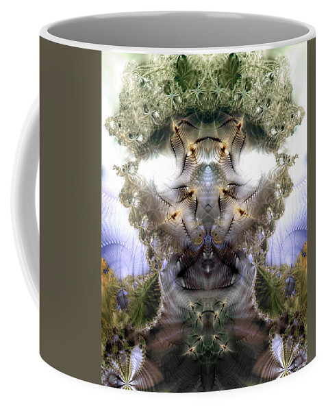 Abstract Coffee Mug featuring the digital art Meditative Symmetry 5 by Casey Kotas