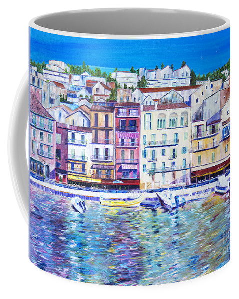 France Coffee Mug featuring the painting Mediterranean Morning by JoAnn DePolo