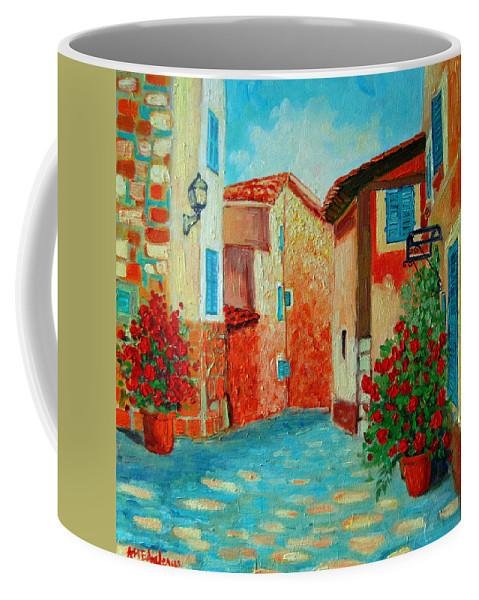 Mediterranean Coffee Mug featuring the painting Mediterranean Street by Ana Maria Edulescu