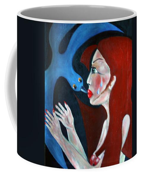 Colour Coffee Mug featuring the painting Meeting II by Wojtek Kowalski