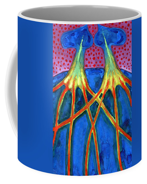 Colour Coffee Mug featuring the painting Meeting by Wojtek Kowalski