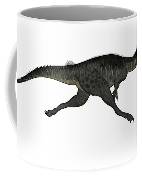 Dinosaur Coffee Mug featuring the digital art Megalosaurus Dinosaur Running, White by Elena Duvernay