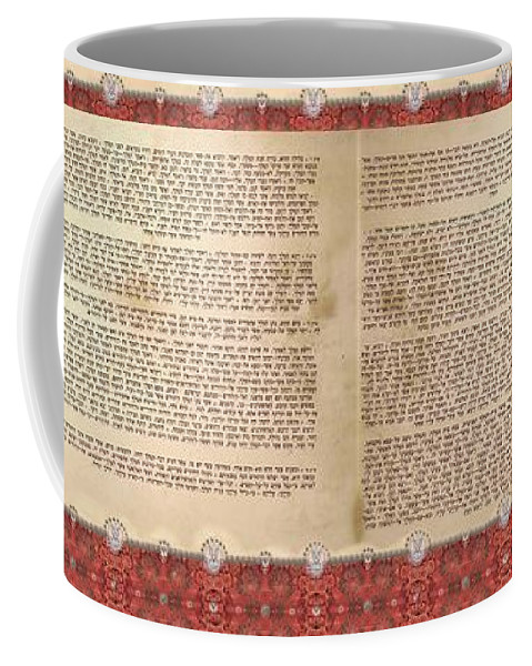 Meguilat Esther Coffee Mug featuring the digital art Meguilat Esther-esther Scroll The Whole Text by Sandrine Kespi