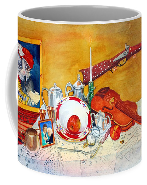 Watercolor Coffee Mug featuring the painting Meine Familie Geschichte by Gerald Carpenter