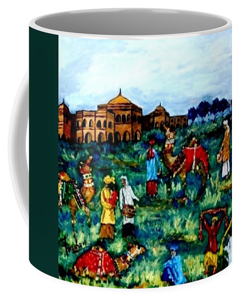 Oil Painting Coffee Mug featuring the painting Mela - Carnival by Fareeha Khawaja